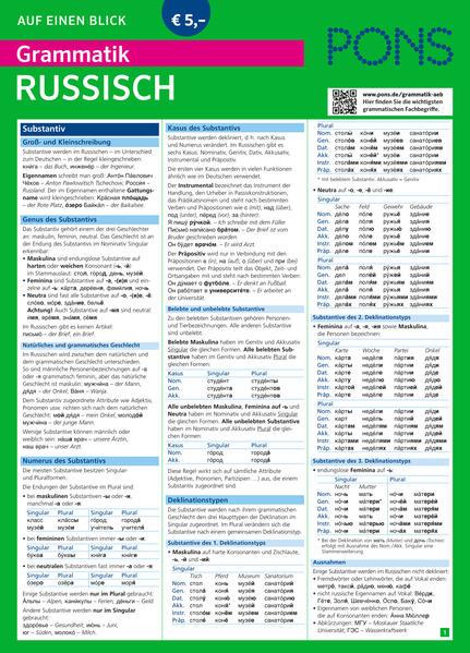 PONS Grammatik auf einen Blick Russisch