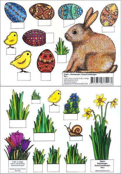 Ostern - Bastelbogen, Ausschneidebogen. Osterhase, Ostereier, Küken und Blumen zum Basteln.